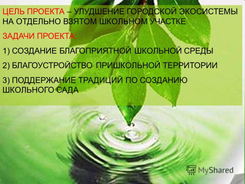 ЦЕЛЬ ПРОЕКТА – УЛУДШЕНИЕ ГОРОДСКОЙ ЭКОСИСТЕМЫ НА ОТДЕЛЬНО ВЗЯТОМ ШКОЛЬНОМ УЧАСТКЕ ЗАДАЧИ ПРОЕКТА: 1) СОЗДАНИЕ БЛАГОПРИЯТНОЙ ШКОЛЬНОЙ СРЕДЫ 2) БЛАГОУСТ