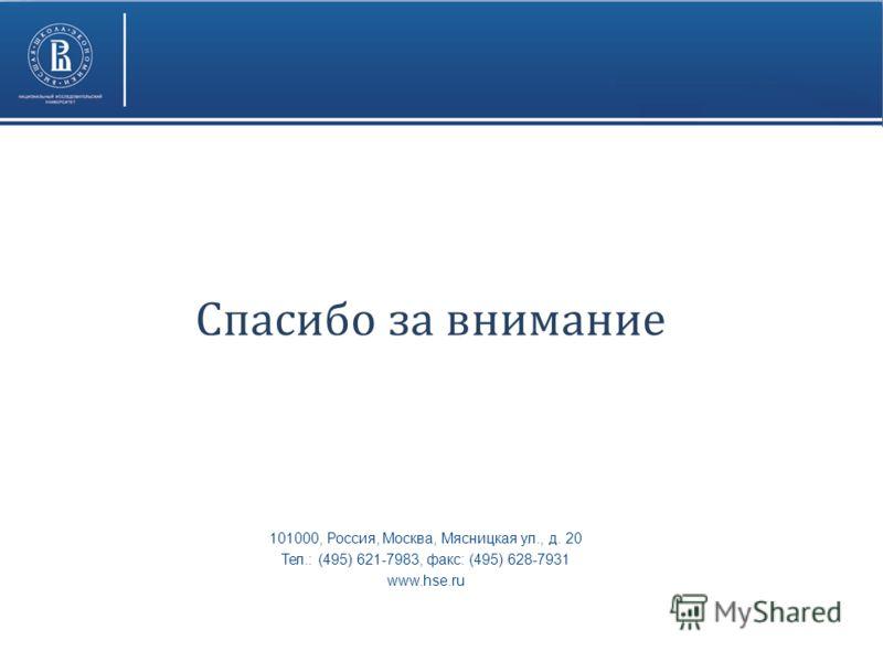 101000, Россия, Москва, Мясницкая ул., д. 20 Тел.: (495) 621-7983, факс: (495) 628-7931 www.hse.ru Спасибо за внимание