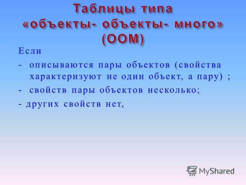 Если - описываются пары объектов ( свойства характеризуют не один объект, а пару ) ; - свойств пары объектов несколько ; - других свойств нет,