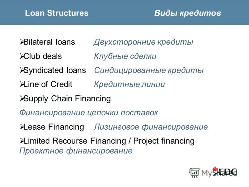 Loan Structures Виды кредитов Bilateral loans Двухсторонние кредиты Club dealsКлубные сделки Syndicated loansСиндицированные кредиты Line of CreditКредитные линии Supply Chain Financing Финансирование цепочки поставок Lease FinancingЛизинговое финанс