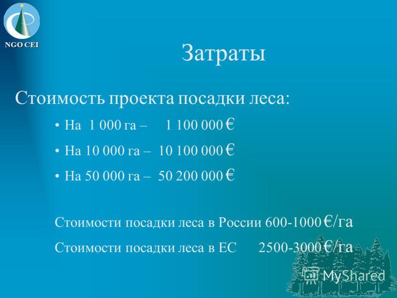 NGO CEI Затраты Стоимость проекта посадки леса: На 1 000 га – 1 100 000 На 10 000 га – 10 100 000 На 50 000 га – 50 200 000 Стоимости посадки леса в России 600-1000 /га Стоимости посадки леса в EC 2500-3000 /га