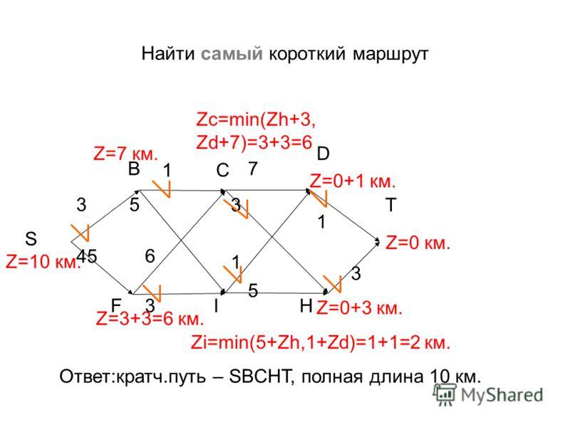Найти самый короткий маршрут 7 3 3 3 1 S B C T FI 6 3 1 1 5 H Z=0 км. Zi=min(5+Zh,1+Zd)=1+1=2 км. Z=0+1 км. Z=0+3 км. Zc=min(Zh+3, Zd+7)=3+3=6 D Z=3+3=6 км. Z=10 км. Z=7 км. 45 Ответ:кратч.путь – SBCHT, полная длина 10 км. 5