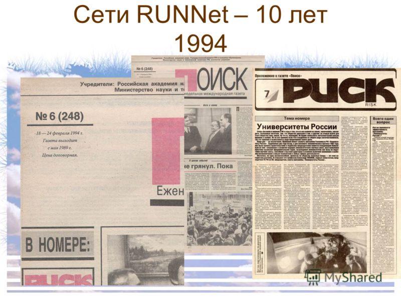 Сети RUNNet – 10 лет 1994