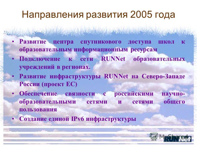 Направления развития 2005 года Развитие центра спутникового доступа школ к образовательным информационным ресурсам Подключение к сети RUNNet образовательных учреждений в регионах. Развитие инфраструктуры RUNNet на Северо-Западе России (проект ЕС) Обе