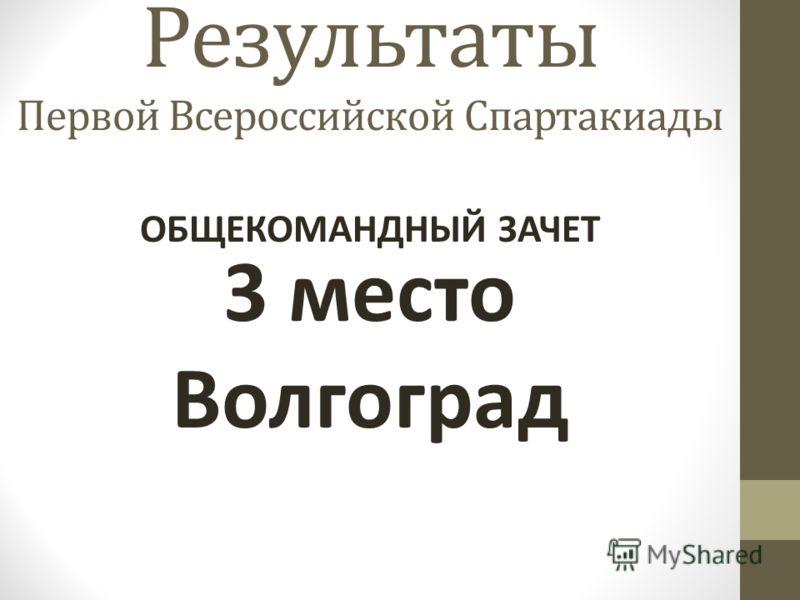 Результаты Первой Всероссийской Спартакиады 3 место Волгоград ОБЩЕКОМАНДНЫЙ ЗАЧЕТ