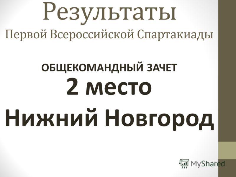 Результаты Первой Всероссийской Спартакиады 2 место Нижний Новгород ОБЩЕКОМАНДНЫЙ ЗАЧЕТ