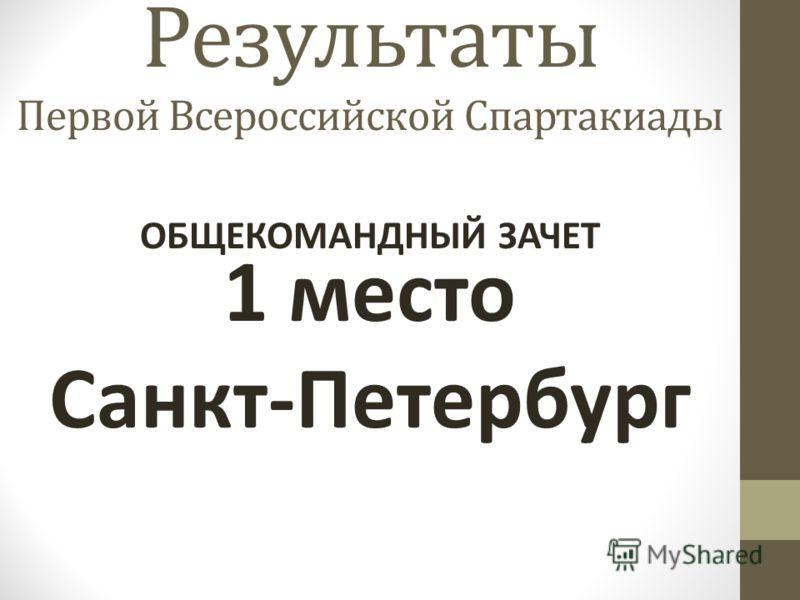 Результаты Первой Всероссийской Спартакиады 1 место Санкт-Петербург ОБЩЕКОМАНДНЫЙ ЗАЧЕТ