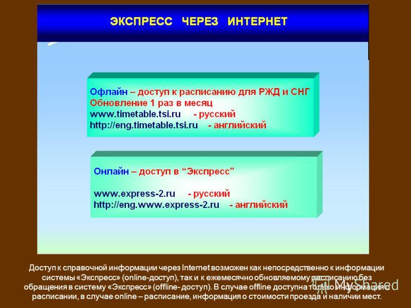 Доступ к справочной информации через Internet возможен как непосредственно к информации системы «Экспресс» (online-доступ), так и к ежемесячно обновляемому расписанию без обращения в систему «Экспресс» (offline- доступ). В случае offline доступна тол