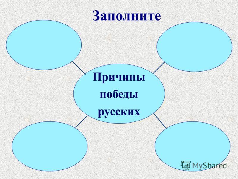 Заполните Причины победы русских Причины победы русских