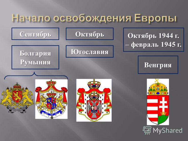 Сентябрь БолгарияРумыния Октябрь Югославия Октябрь 1944 г. – февраль 1945 г. Венгрия