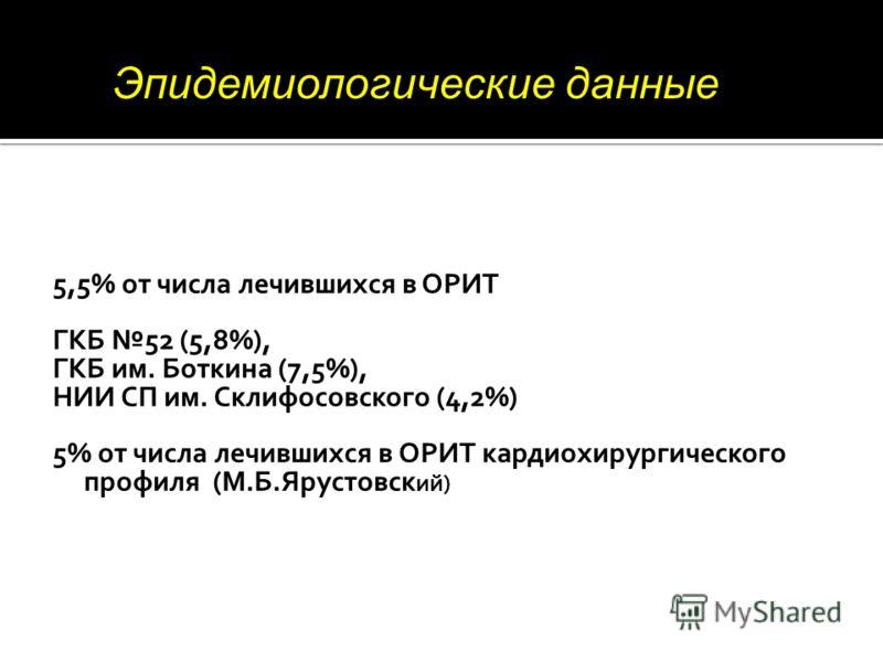 5,5% от числа лечившихся в ОРИТ ГКБ 52 (5,8%), ГКБ им. Боткина (7,5%), НИИ СП им. Склифосовского (4,2%) 5% от числа лечившихся в ОРИТ кардиохирургического профиля (М.Б.Ярустовск ий) Эпидемиологические данные