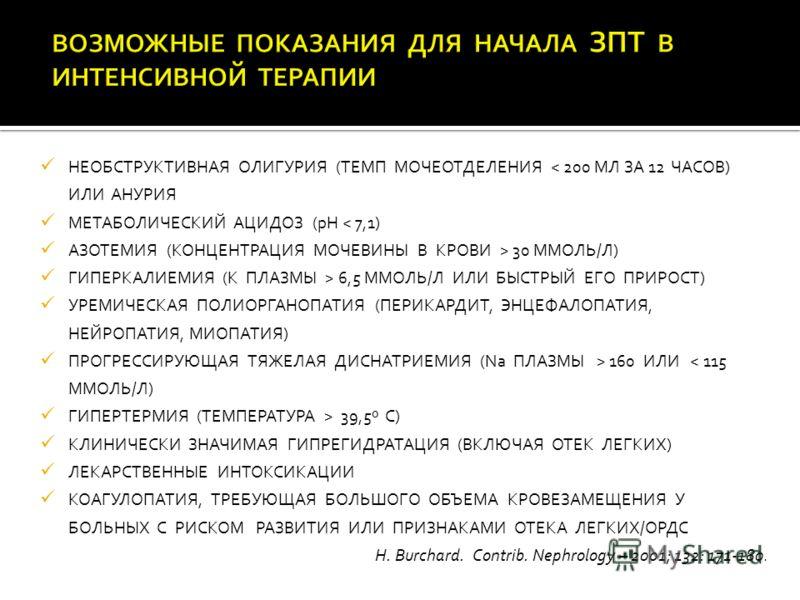 НЕОБСТРУКТИВНАЯ ОЛИГУРИЯ (ТЕМП МОЧЕОТДЕЛЕНИЯ < 200 МЛ ЗА 12 ЧАСОВ) ИЛИ АНУРИЯ МЕТАБОЛИЧЕСКИЙ АЦИДОЗ (рН < 7,1) АЗОТЕМИЯ (КОНЦЕНТРАЦИЯ МОЧЕВИНЫ В КРОВИ > 30 ММОЛЬ/Л) ГИПЕРКАЛИЕМИЯ (К ПЛАЗМЫ > 6,5 ММОЛЬ/Л ИЛИ БЫСТРЫЙ ЕГО ПРИРОСТ) УРЕМИЧЕСКАЯ ПОЛИОРГАНО