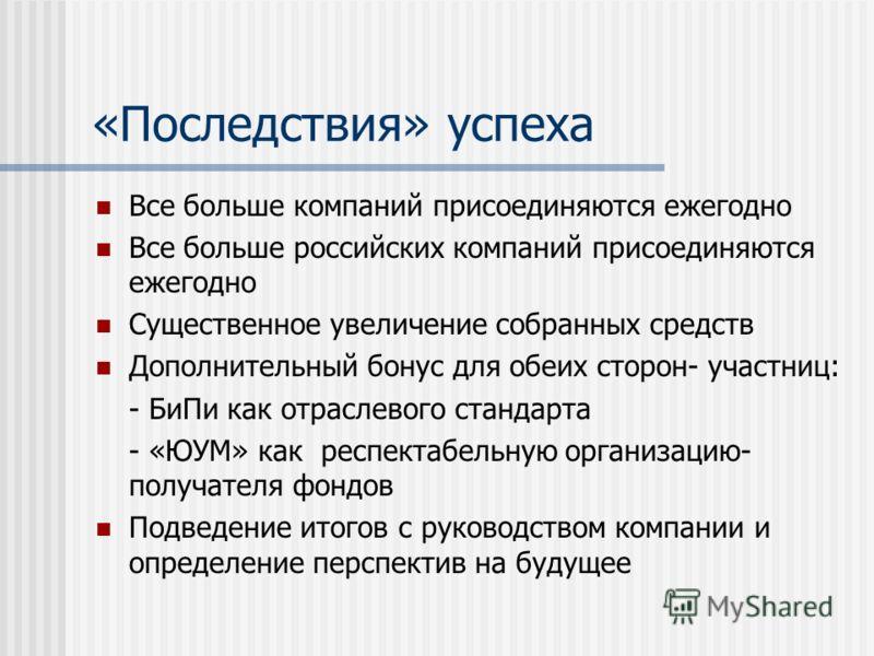 «Последствия» успеха Все больше компаний присоединяются ежегодно Все больше российских компаний присоединяются ежегодно Существенное увеличение собранных средств Дополнительный бонус для обеих сторон- участниц: - БиПи как отраслевого стандарта - «ЮУМ