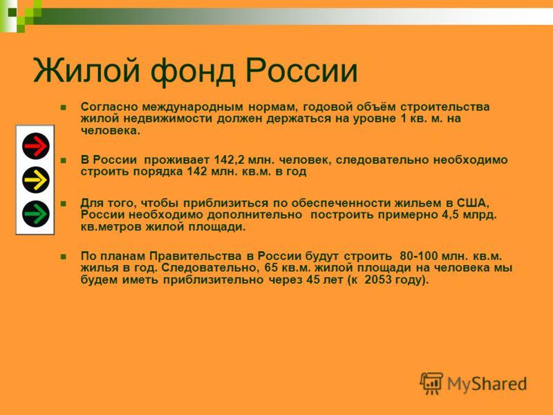 Жилой фонд России Согласно международным нормам, годовой объём строительства жилой недвижимости должен держаться на уровне 1 кв. м. на человека. В России проживает 142,2 млн. человек, следовательно необходимо строить порядка 142 млн. кв.м. в год Для