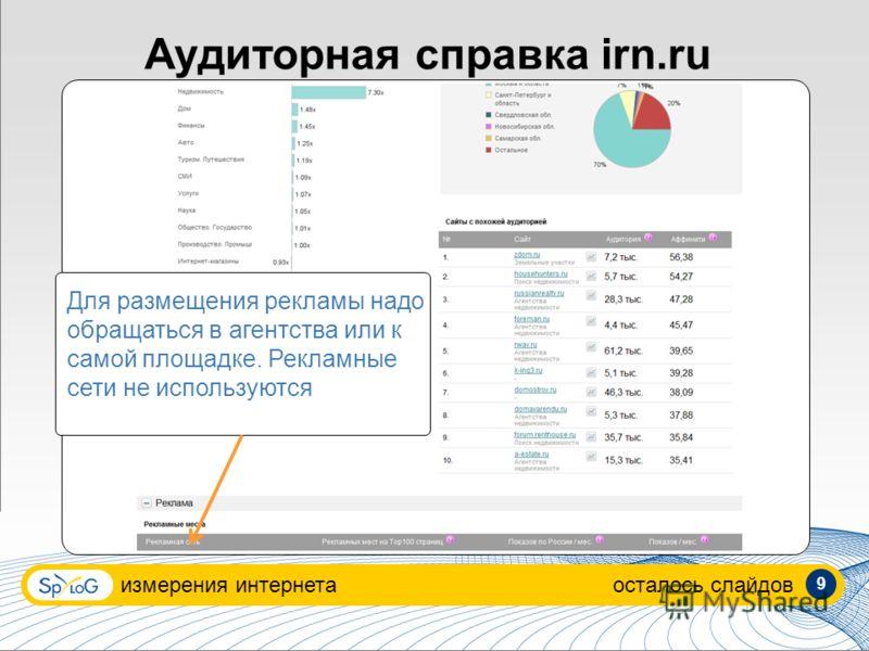 измерения интернетаосталось слайдов Аудиторная справка irn.ru Для размещения рекламы надо обращаться в агентства или к самой площадке. Рекламные сети не используются 9
