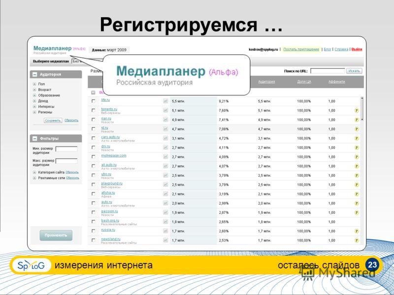 Регистрируемся … измерения интернетаосталось слайдов 23