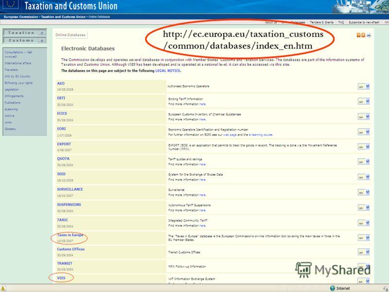 На една ръка разстояние... StartUP@Plovdiv 2010, Пловдив, 17-18 април 2010 г. Елена Палаврова, Търговско-Промишлена Камара - Пловдив http://ec.europa.eu/taxation_customs /common/databases/index_en.htm