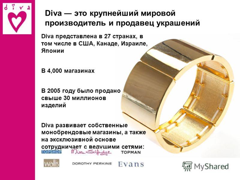 1 Diva это превосходный выбор модных украшений Украшения Diva – это: Высокое качество Широкий ассортимент Разумные цены Стильные магазины