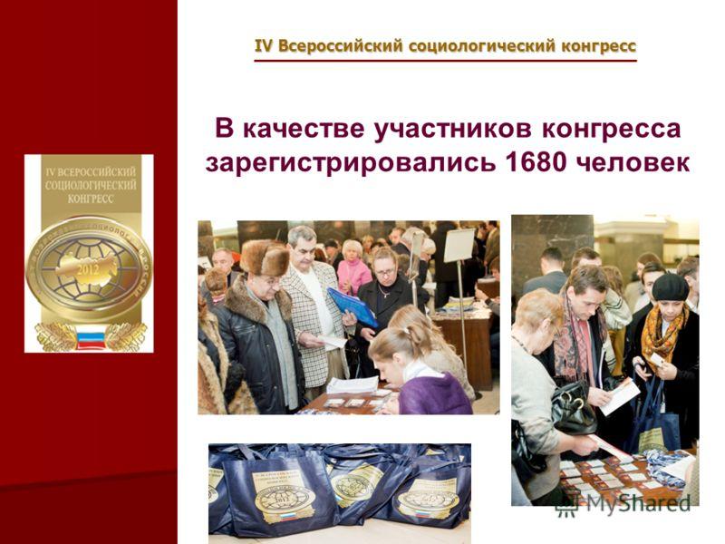 IV Всероссийский социологический конгресс В качестве участников конгресса зарегистрировались 1680 человек