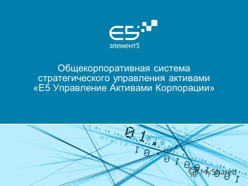 Общекорпоративная система стратегического управления активами «E5 Управление Активами Корпорации»