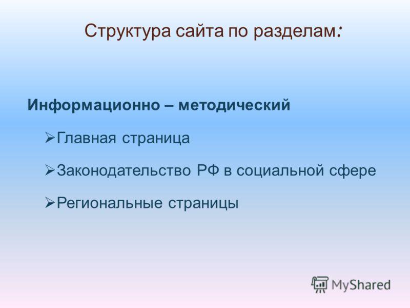 Информационно – методический Главная страница Законодательство РФ в социальной сфере Региональные страницы Структура сайта по разделам :