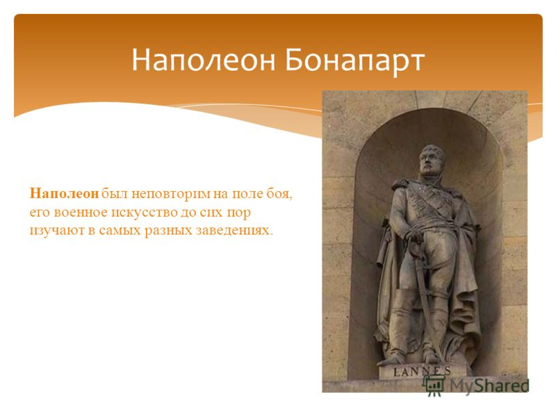 Наполеон Бонапарт Наполеон был неповторим на поле боя, его военное искусство до сих пор изучают в самых разных заведениях.