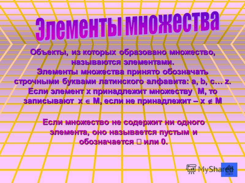 Объекты, из которых образовано множество, называются элементами. Элементы множества принято обозначать строчными буквами латинского алфавита: a, b, c… z. Если элемент х принадлежит множеству М, то записывают х О М, если не принадлежит – x П M Если мн