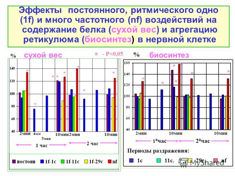 Эффекты постоянного, ритмического одно (1f) и много частотного (nf) воздействий на содержание белка (сухой вес) и агрегацию ретикулюма (биосинтез) в нервной клетке 2мин 4мм 5мин 10мин 1 час 2 час 2мин10мин % * * * * * * * сухой весбиосинтез % * - Р