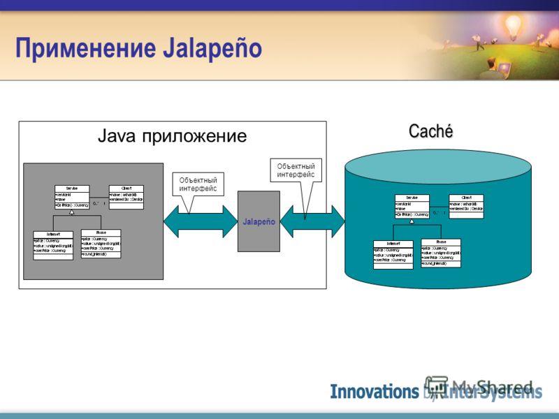 Java приложение Применение Jalapeño Jalapeño Объектный интерфейс Caché