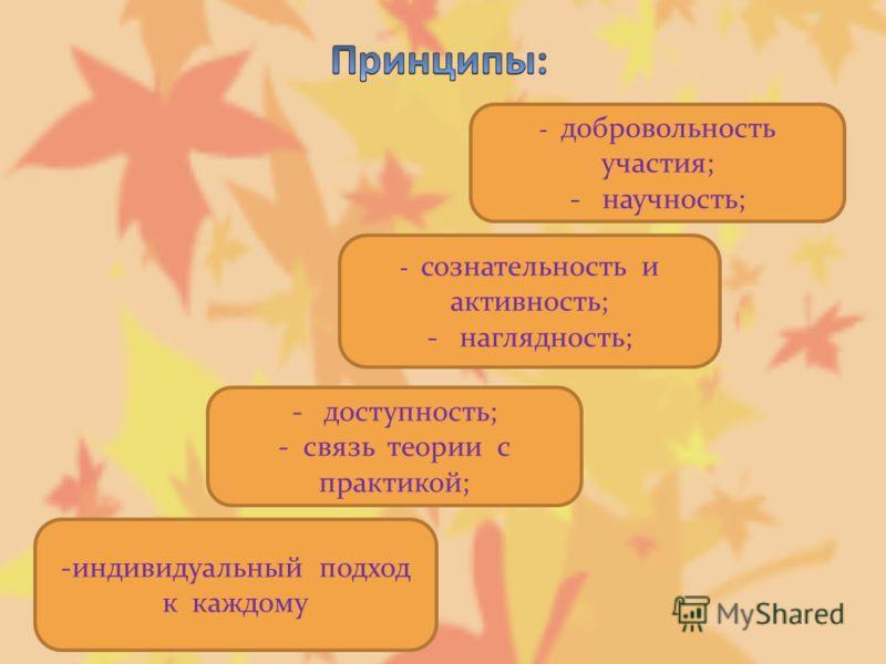 -индивидуальный подход к каждому - доступность; - связь теории с практикой; - сознательность и активность; - наглядность; - добровольность участия; - научность;