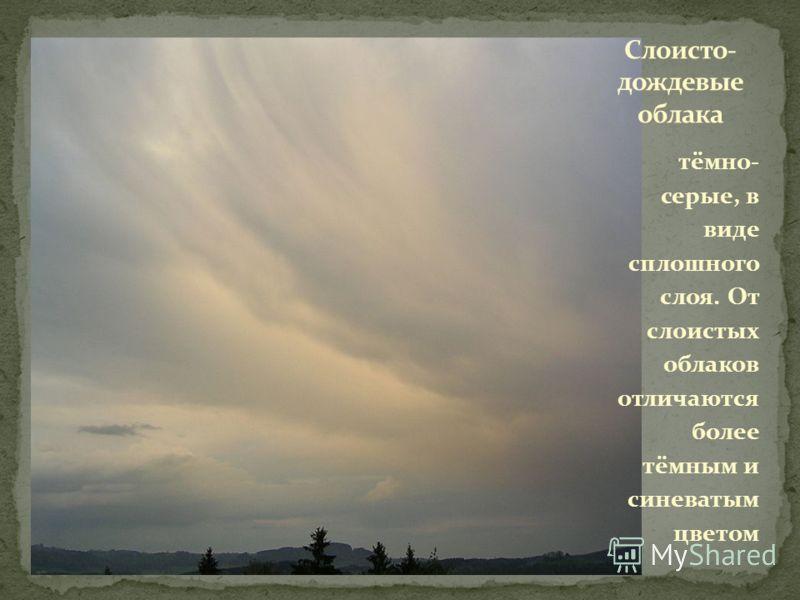 тёмно- серые, в виде сплошного слоя. От слоистых облаков отличаются более тёмным и синеватым цветом