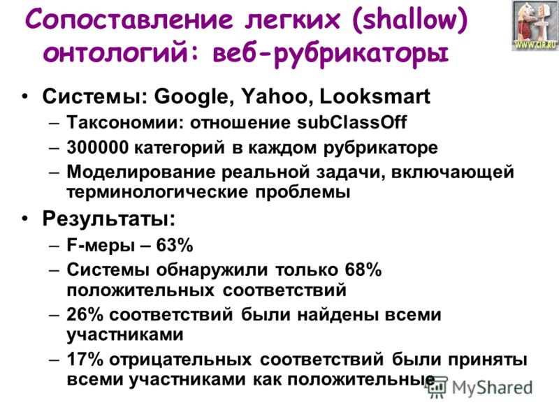 Сопоставление легких (shallow) онтологий: веб-рубрикаторы Системы: Google, Yahoo, Looksmart –Таксономии: отношение subClassOff –300000 категорий в каждом рубрикаторе –Моделирование реальной задачи, включающей терминологические проблемы Результаты: –F