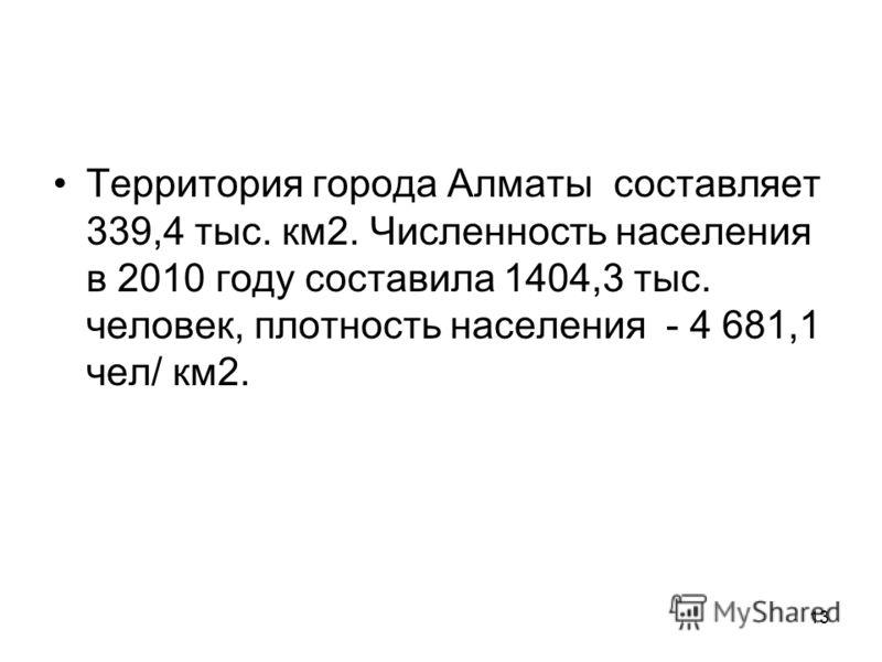 13 Территория города Алматы составляет 339,4 тыс. км2. Численность населения в 2010 году составила 1404,3 тыс. человек, плотность населения - 4 681,1 чел/ км2.