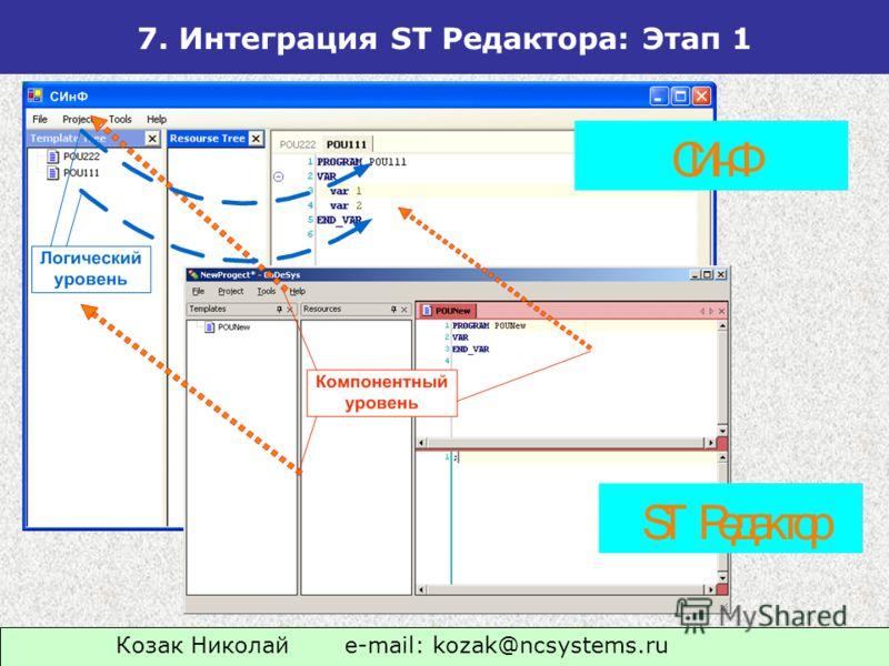 Козак Николай e-mail: kozak@ncsystems.ru 7. Интеграция ST Редактора: Этап 1