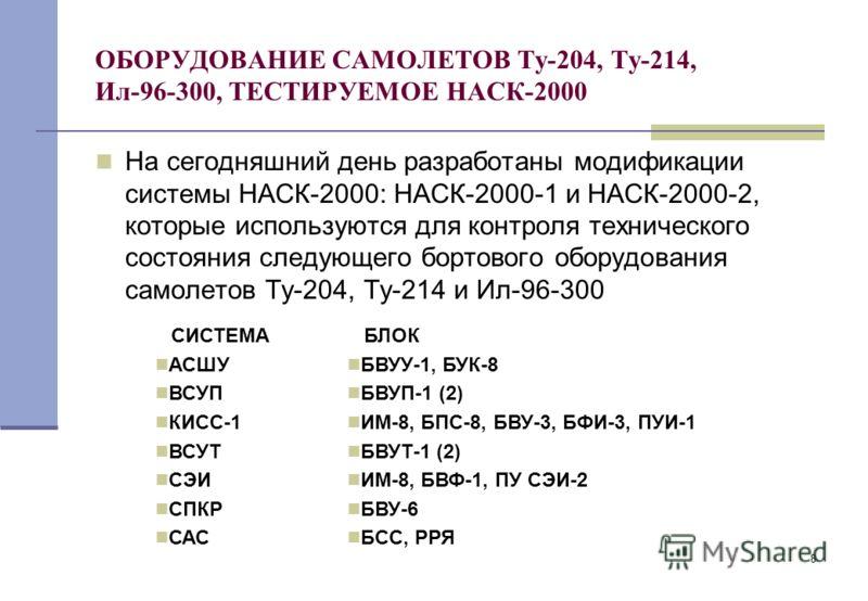8 ОБОРУДОВАНИЕ САМОЛЕТОВ Ту-204, Ту-214, Ил-96-300, ТЕСТИРУЕМОЕ НАСК-2000 На сегодняшний день разработаны модификации системы НАСК-2000: НАСК-2000-1 и НАСК-2000-2, которые используются для контроля технического состояния следующего бортового оборудов