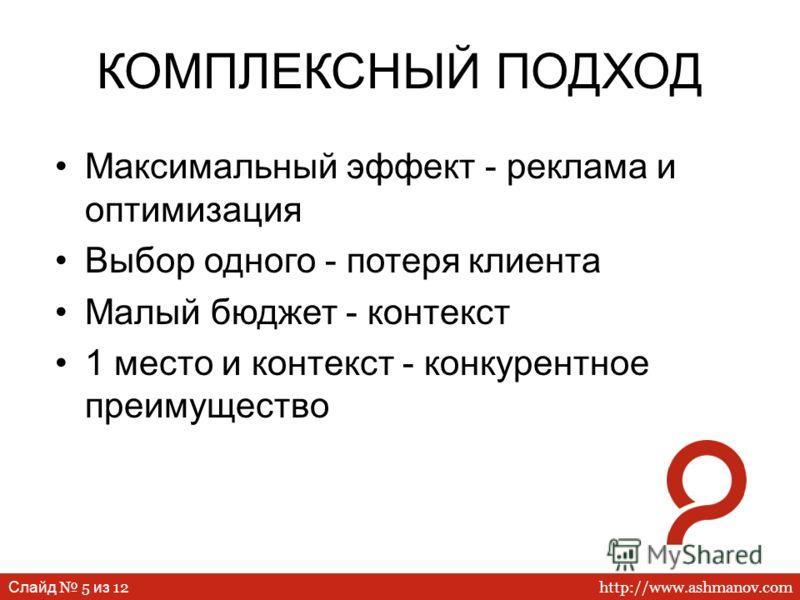 http://www.ashmanov.com Слайд 5 из 12 КОМПЛЕКСНЫЙ ПОДХОД Максимальный эффект - реклама и оптимизация Выбор одного - потеря клиента Малый бюджет - контекст 1 место и контекст - конкурентное преимущество