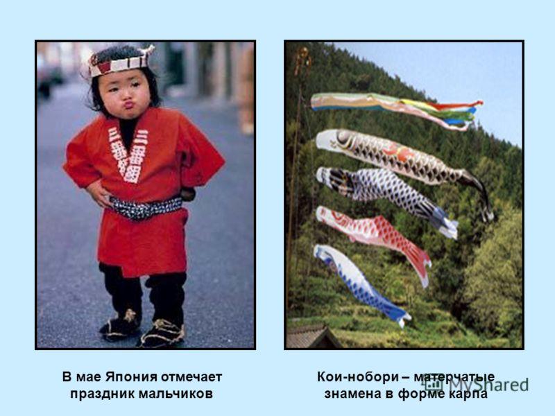 В мае Япония отмечает праздник мальчиков Кои-нобори – матерчатые знамена в форме карпа