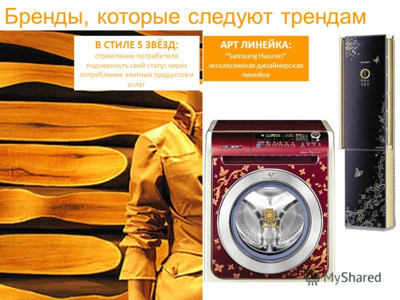 В СТИЛЕ 5 ЗВЁЗД: стремление потребителя подчеркнуть свой статус через потребление элитных продуктов и услуг Бренды, которые следуют трендам AРТ ЛИНЕЙКА: Samsung Hauzen эксклюзивная дизайнерская линейка