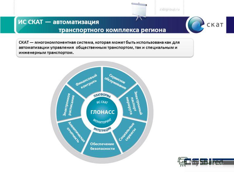 ИС СКАТ автоматизация транспортного комплекса региона СКАТ многокомпонентная система, которая может быть использована как для автоматизации управления общественным транспортом, так и специальным и инженерным транспортом. csbigroup.ru