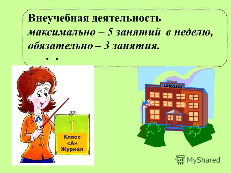 Внеучебная деятельность максимально – 5 занятий в неделю, обязательно – 3 занятия. Класс «А» Журнал школа