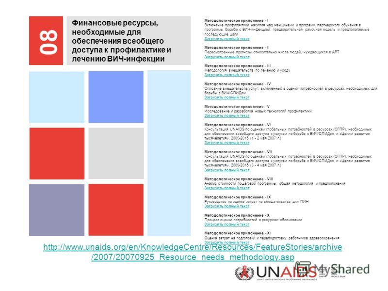 http://www.unaids.org/en/KnowledgeCentre/Resources/FeatureStories/archive /2007/20070925_Resource_needs_methodology.asp Финансовые ресурсы, необходимые для обеспечения всеобщего доступа к профилактике и лечению ВИЧ-инфекции 08 Методологическое прилож
