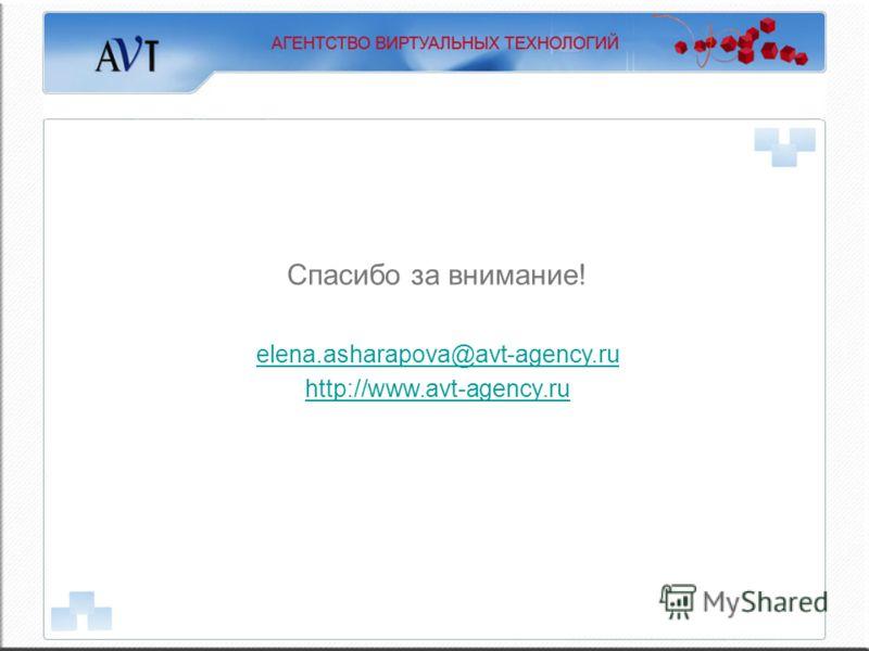 Спасибо за внимание! elena.asharapova@avt-agency.ru http://www.avt-agency.ru
