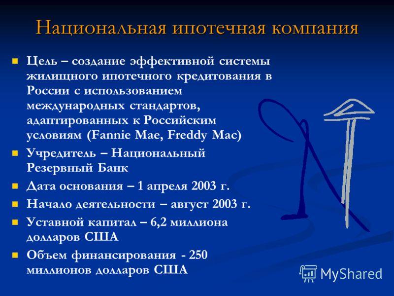 Национальная ипотечная компания Цель – создание эффективной системы жилищного ипотечного кредитования в России с использованием международных стандартов, адаптированных к Российским условиям (Fannie Mae, Freddy Mac) Учредитель – Национальный Резервны