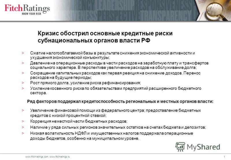 Российские регионы: влияние кризиса и возможности адаптации Владимир Редькин Директор, Международные региональные финансы Fitch Ratings