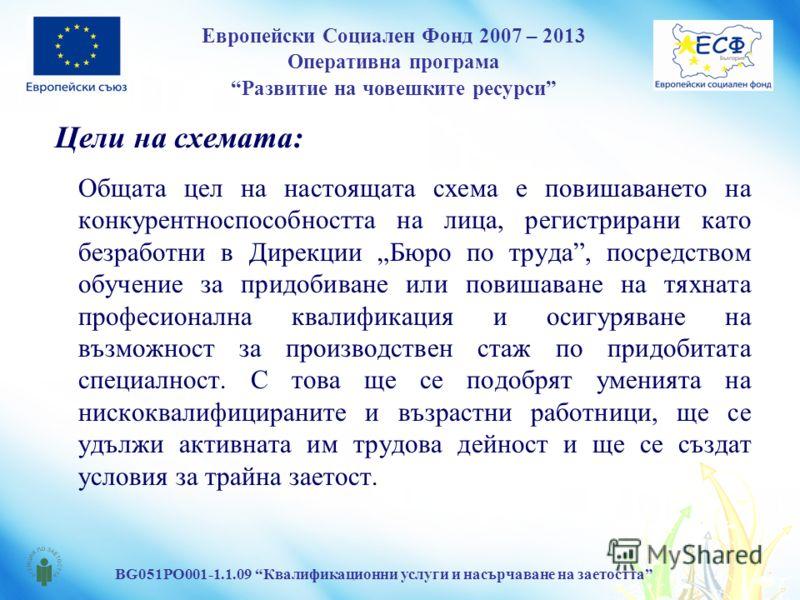Европейски Социален Фонд 2007 – 2013 Оперативна програма Развитие на човешките ресурси BG051PO001-1.1.09 Квалификационни услуги и насърчаване на заетостта Цели на схемата: Общата цел на настоящата схема е повишаването на конкурентноспособността на ли