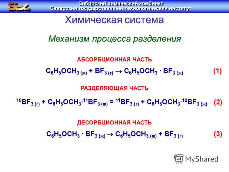 Химическая система C 6 H 5 OCH 3 (ж) + BF 3 (г) C 6 H 5 OCH 3 · BF 3 (ж) C 6 H 5 OCH 3 · BF 3 (ж) C 6 H 5 OCH 3 (ж) + BF 3 (г) 10 BF 3 (г) + C 6 H 5 OCH 3 · 11 BF 3 (ж) = 11 BF 3 (г) + C 6 H 5 OCH 3 · 10 BF 3 (ж) Механизм процесса разделения АБСОРБЦИ