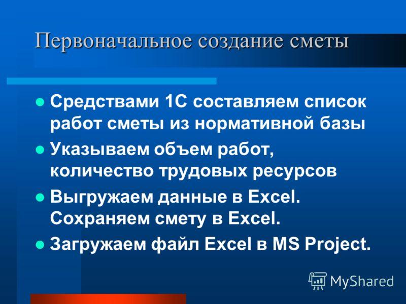 Первоначальное создание сметы Средствами 1С составляем список работ сметы из нормативной базы Указываем объем работ, количество трудовых ресурсов Выгружаем данные в Excel. Сохраняем смету в Excel. Загружаем файл Excel в MS Project.