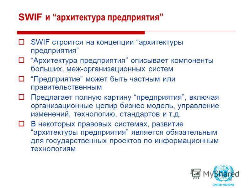 6 SWIF и архитектура предприятия SWIF строится на концепции архитектуры предприятия Архитектура предприятия описывает компоненты больших, меж-организационных систем Предприятие может быть частным или правительственным Предлагает полную картину предпр