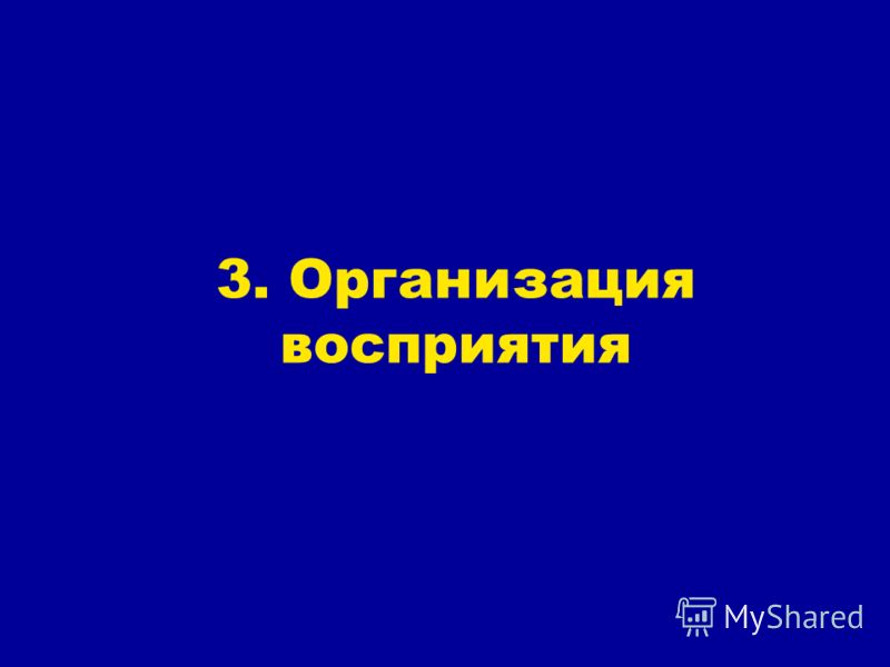 3. Организация восприятия
