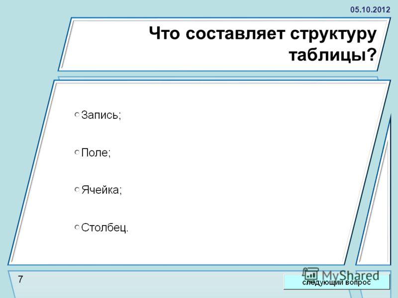 28.08.2012 Что составляет структуру таблицы? 7